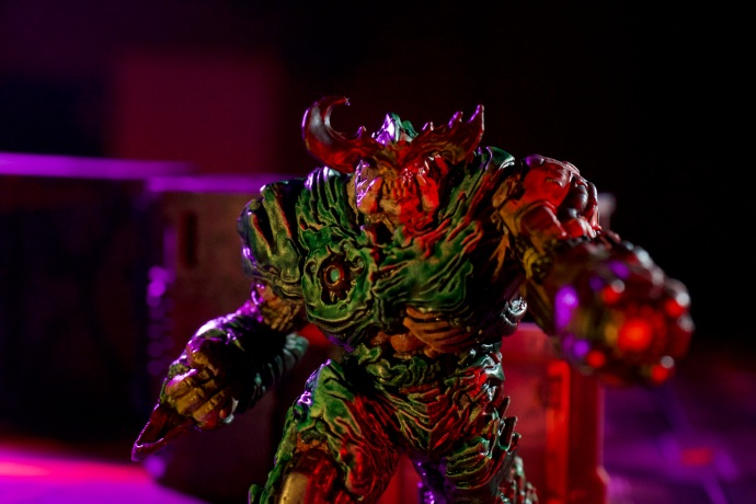 I painted this Cyberdemon from the DOOM board game for this spec ad. I also created the entire lighting style for the ad as well. My DP for the shoot did an excellent job picking out macro lenses for the miniature scenes.